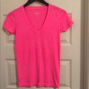 J. Crew HOT 🥵 Pink V-Neck T-Shirt